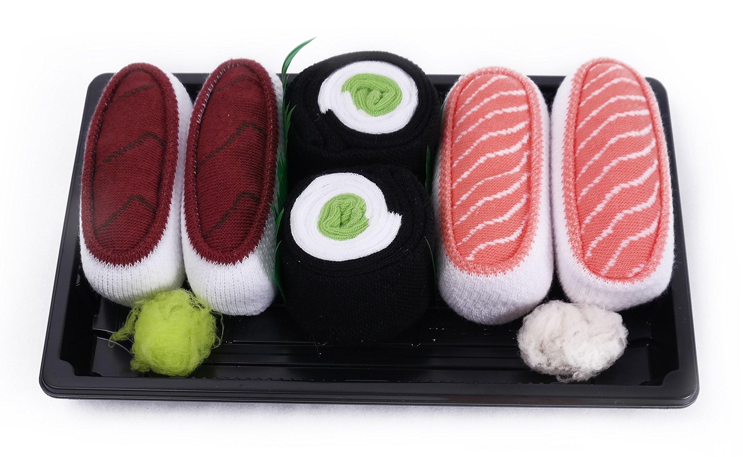 SUSHI SOCKS BOX 3 pairs Tuna Salmon Cucumber Maki FUNNY GIFT! Made in Europe S