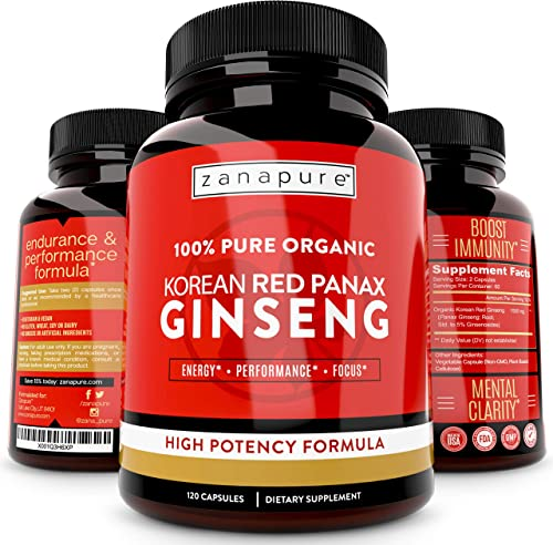 ZANAPURE Organic Korean Red Panax Ginseng 1500mg, 100 Pure, High Potency, Extra Strength Ginsenosides, Improves Energy, Immunity, Focus Performance, 120 Vegan Capsules, 60 Servings
