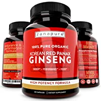 ZANAPURE Organic Korean Red Panax Ginseng 1500mg, 100% Pure, High Potency, Extra...