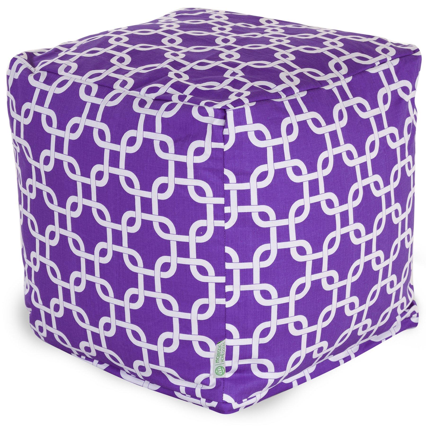 Majestic Home Goods Links Indoor/Outdoor Bean Bag Ottoman Pouf Cube, 17'' x 17'' x 17'' (Purple)