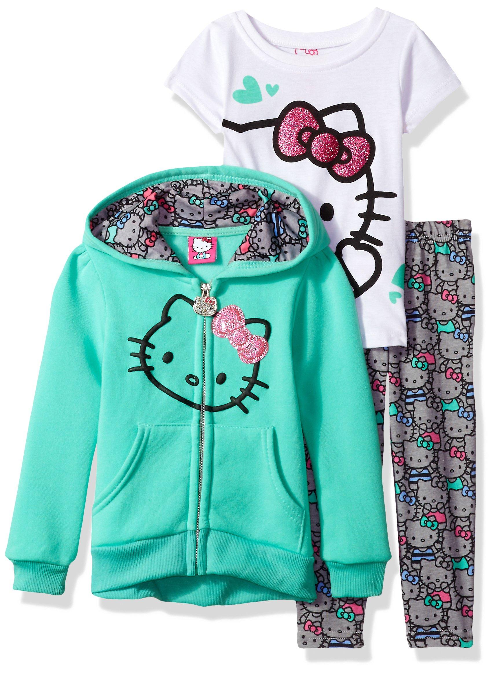 Hello Kitty Big Girls' 3 Piece Hooded Legging Set, Mint, 7