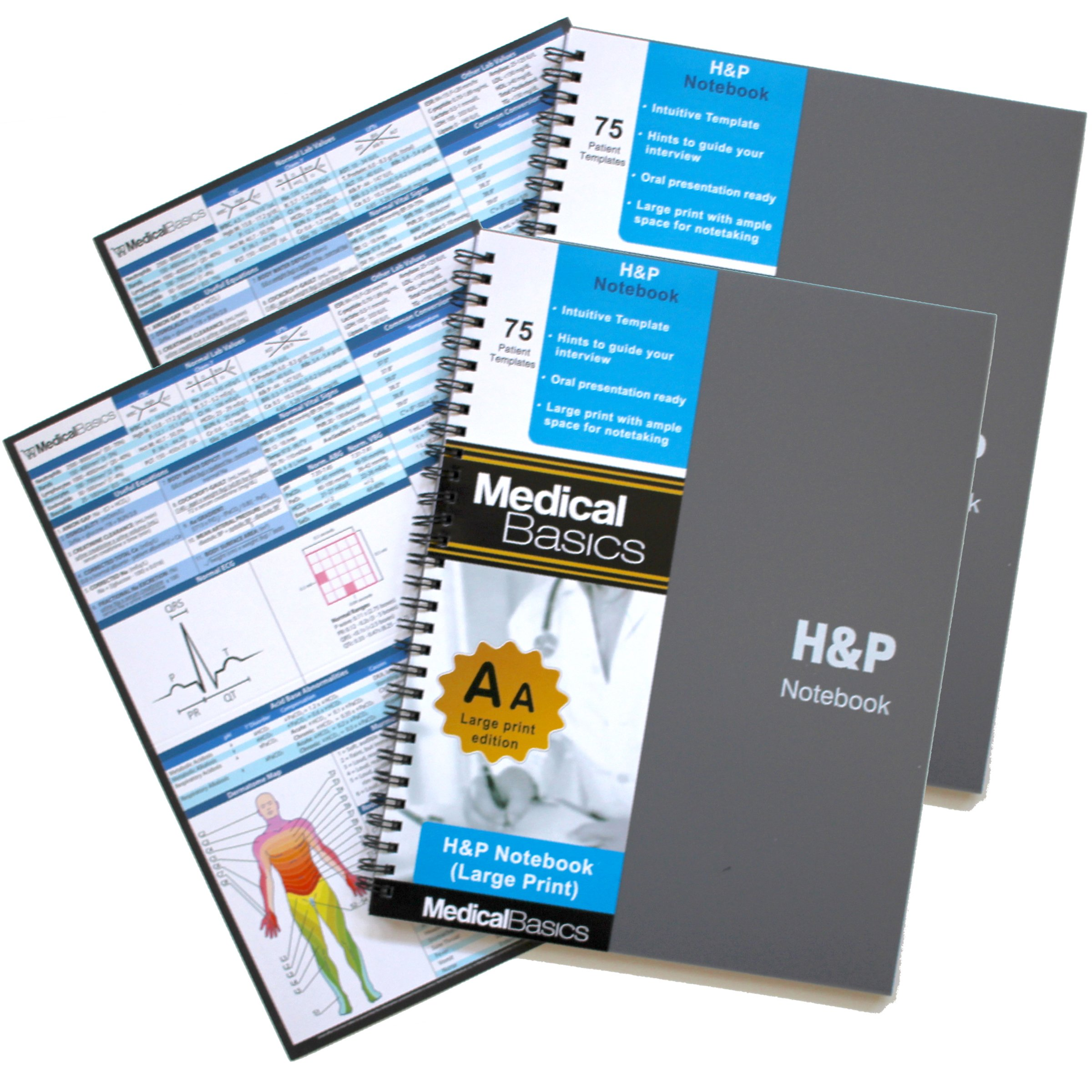 H&P Notebook Plus 8.5''x10'' (Large Print) - Medical History and Physical Notebook, 70 Medical templates with Perforations by Medical Basics