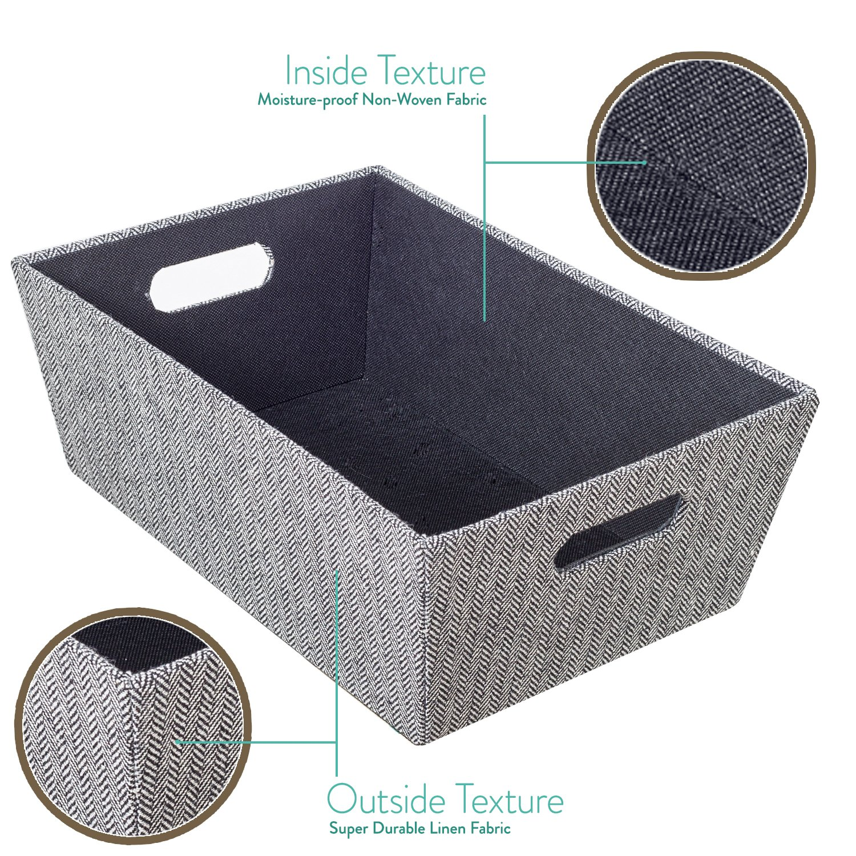80e3c40bbe43 Creative Scents Herringbone Decorative Storage Basket with Moisture-Proof  Interior | Heavy Duty Fabric Organizer Box | Organization Bin for Clothes,  ...