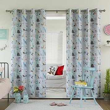 Amazon.com: Best Home Fashion Room Darkening Alphabet Print Curtains ...