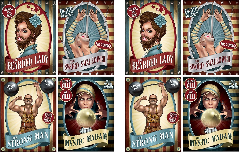 "Beistle Vintage Circus Poster Cutouts (8 Piece), 15.25"", Multicolor"