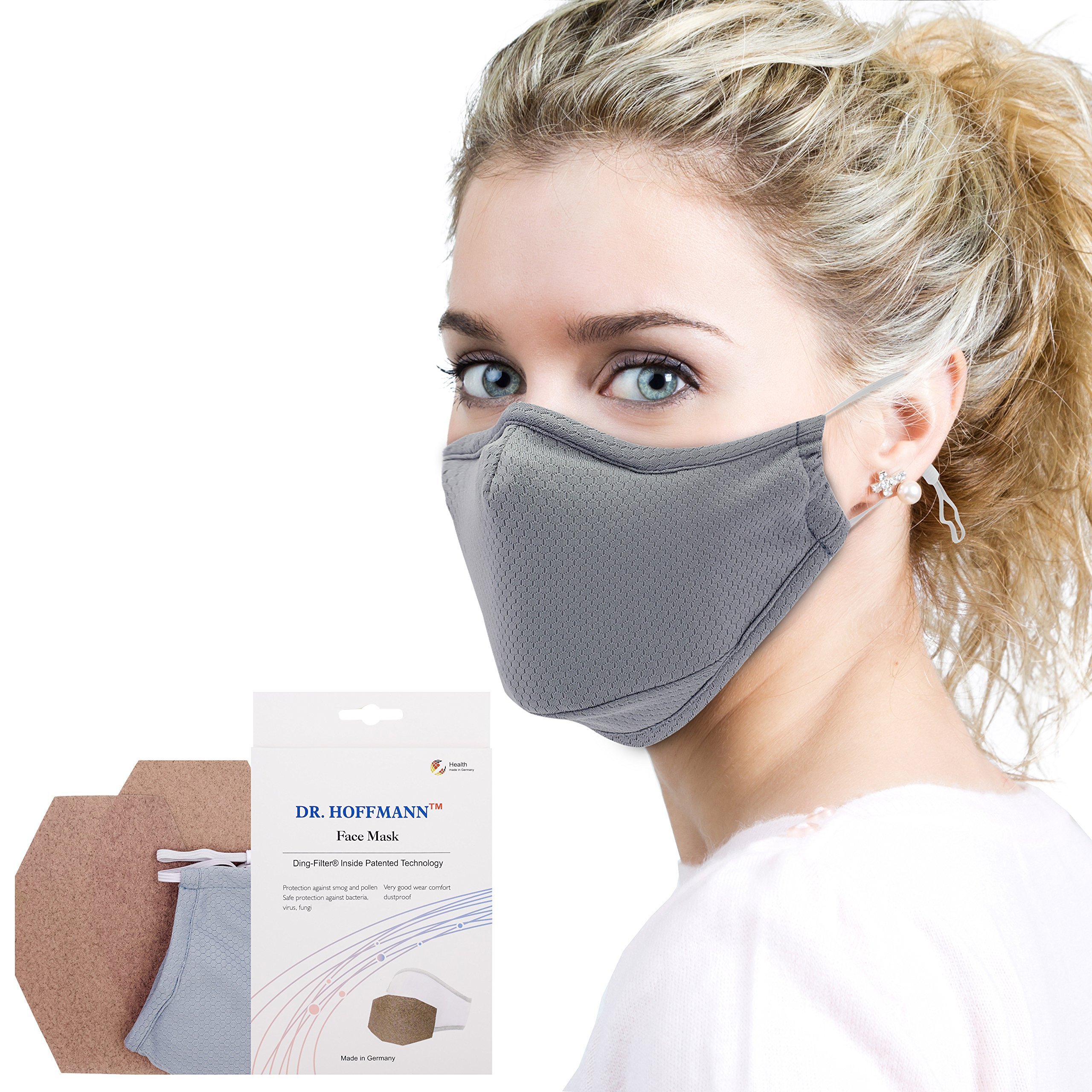 Dr. Hoffmann Allergy Mask - Germ Mask - Anti Dust, Pollution, Pollen and Flu Protection - Antimicrobial Kills Viruses/Bacteria/Fungi - Earloop Cotton - Washable - for Men and Women - Gray by Dr. Hoffmann Face Mask