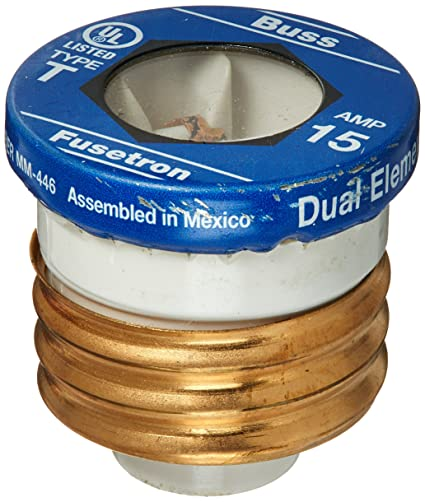 amazon com: bussmann t-15 15 amp type t time-delay dual-element edison base plug  fuse, 125v ul listed: home improvement