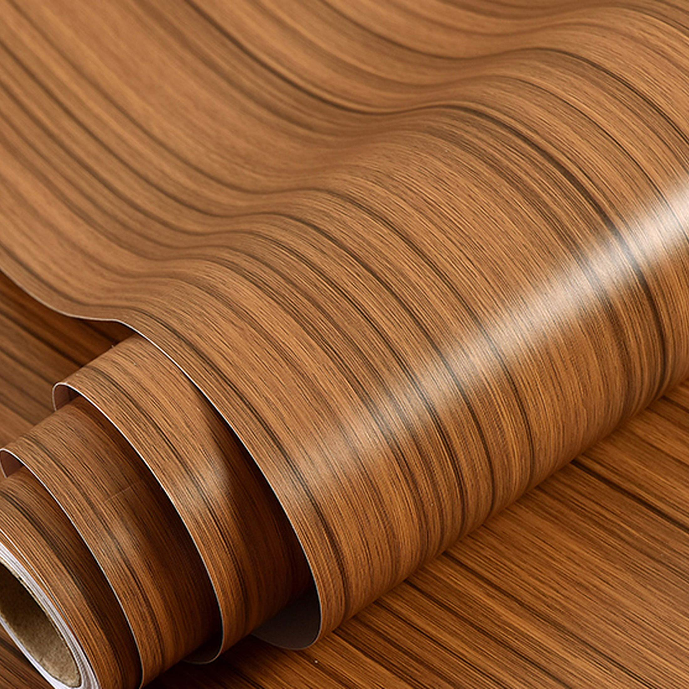 Wolpin Wall Stickers Furniture Wallpaper Wood (60 x 300 cm) Door, DIY Vinyl, Almirah, Shelf Liner, Revamp Desk Table Top, Wardrobe, Kitchen Cupboard Decoration Self Adhesive, Brown