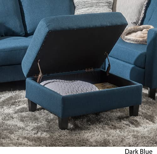 Christopher Knight Home Zahra Fabric Storage Ottoman, Dark Blue