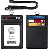 ELV Badge Holder, PU Leather ID Badge Card Holder Wallet with 5 Card Slots and 20 inch Neck Lanyard Strap for Offices ID, School ID, Driver Licence