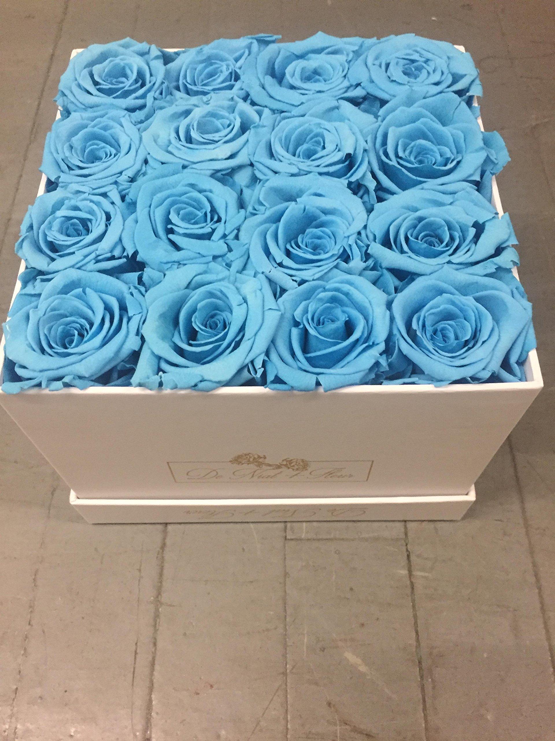 Turquoise Preserved Roses in Elegant White Square Box