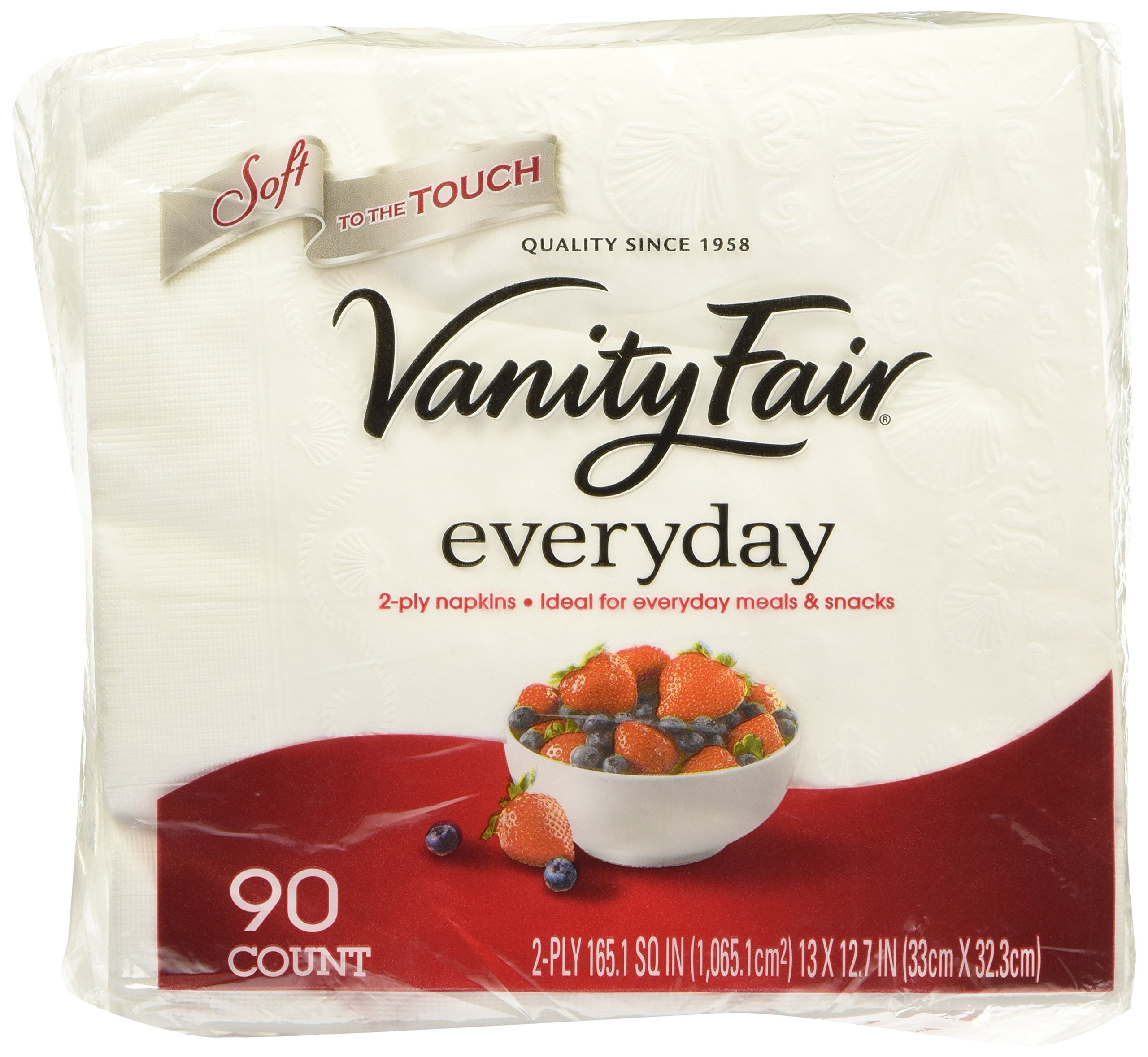 Vanity Fair Everyday 2-ply Napkins 90-count (3 Pack) 13'' X 12.7''