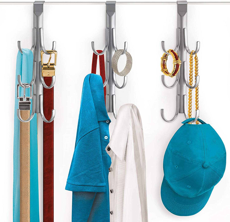 Hat Platinum Belt Towel Organizer Lynk Over Door 6 Hook Rack Shirt Coat