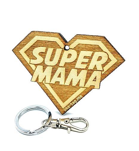 LIKY® Super Mama - Llavero Original de Madera Grabado Regalo para día de la Madre cumpleaños Colgante Bolsa Mochila