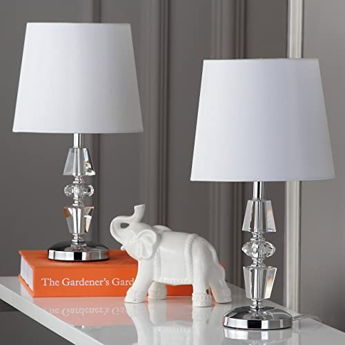 Safavieh Lighting Collection Crescendo Clear and White Tiered Crystal 15-inch Table Lamp Set of 2