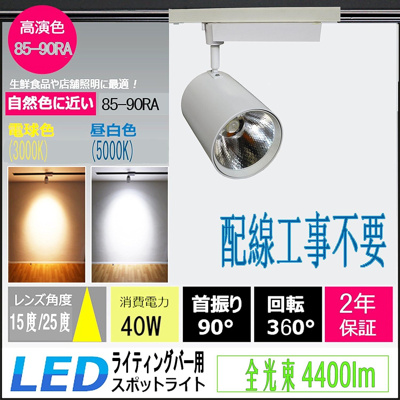40wLEDダクトレール  LEDライティングバー用 グローバルラン  LEDスポットライト 40w 4400lm  配線工事不要 簡単取付 ダクトレール ライティングレール 天井照明 照射角度:10度/25度 超高演色性85-90Ra 首振り90°回転360° 電球色 白色 昼白色 昼光色 四色選択 2年保証 (照射角度:25度, 白色(4000k)) B071JRFCDH 10600 照射角度:25度|白色(4000k) 白色(4000k) 照射角度:25度