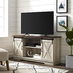 "WE Furniture AZ58SBDWO TV Stand, 58"", White Oak"