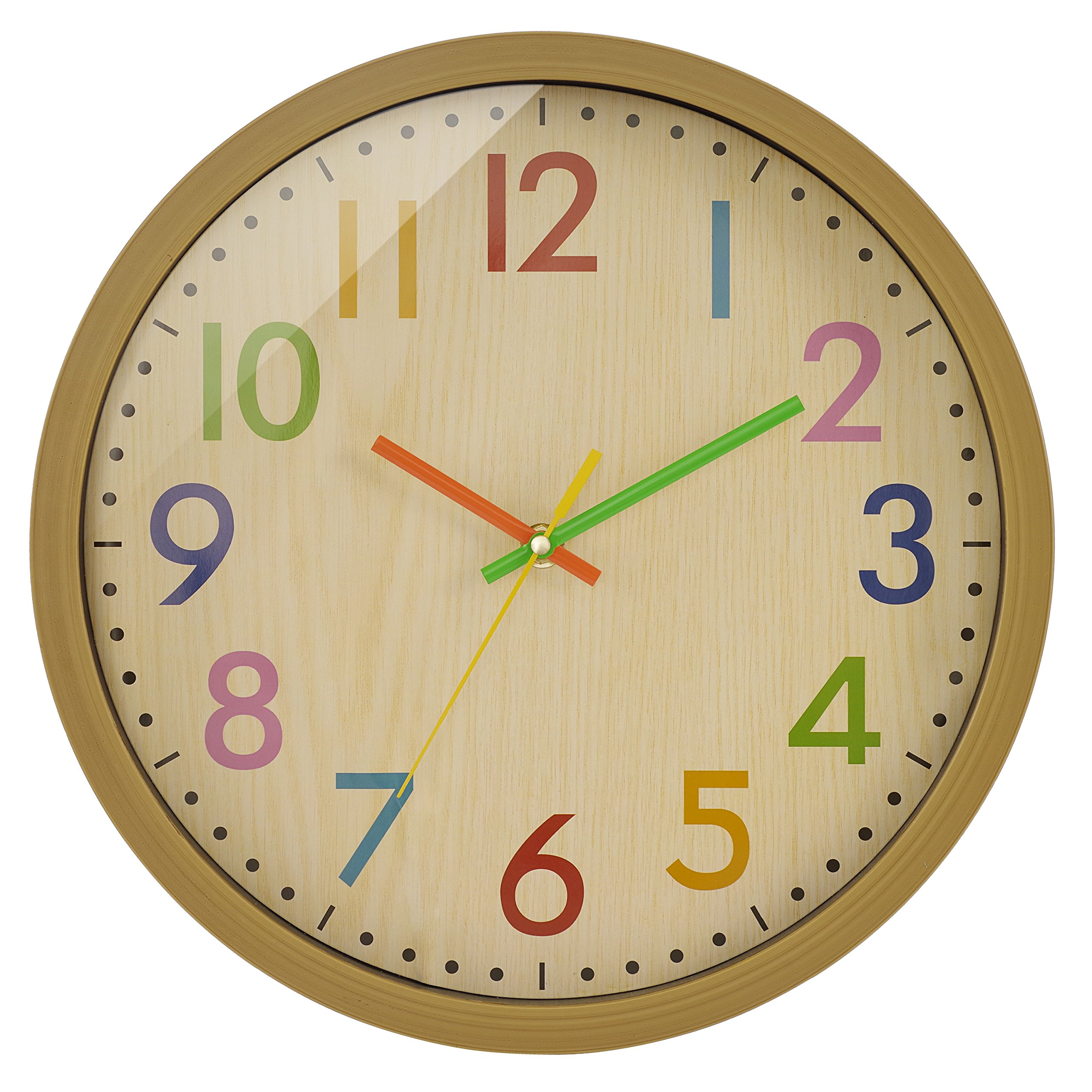 BELIFE Kids Wall Clock- 12'' Non Ticking Quality Quartz Battery Operated Wall Clock, Easy To Read for Kids and the Aged(colorful)