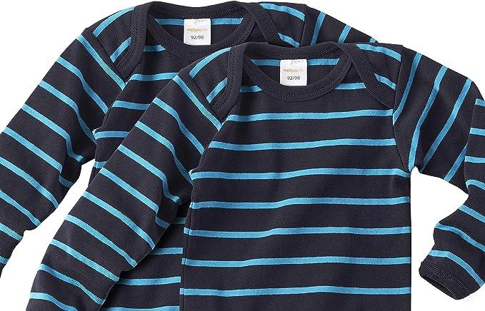 Tallas 50-98 WELLYOU Conjunto de 2 Bodys sin Mangas para beb/és//ni/ños Color Azul Marino con Rayas Azul Turquesa