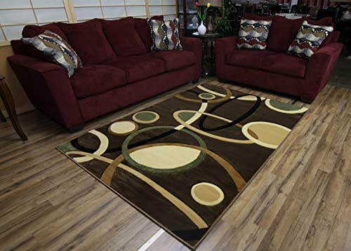 New Modern Abstract Contemporary Design Brown Multi-Color Rug Carpet Stain Resistant Beautiful Area Rug 5 x 8
