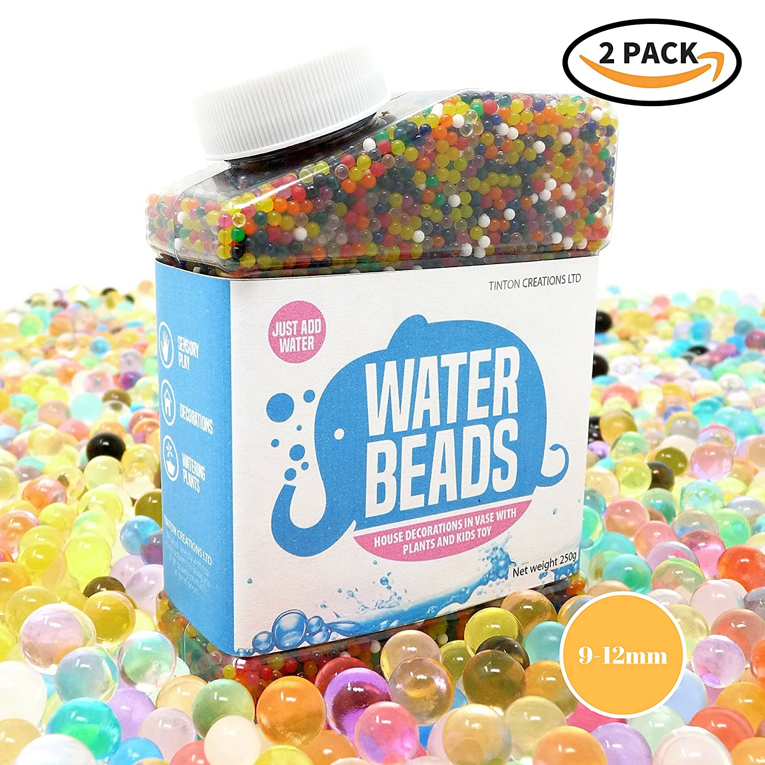 2 X Pack ~ Water Beads Rainbow Mix ~ Vibrant Colours ~ 14oz (80,000 beads) for Orbeez Spa Refill, Sensory Toy, Kids Bath Toy, Vases, Plants, Wedding and Home Decoration ~ 9-12mm Diameter Tinton Creations
