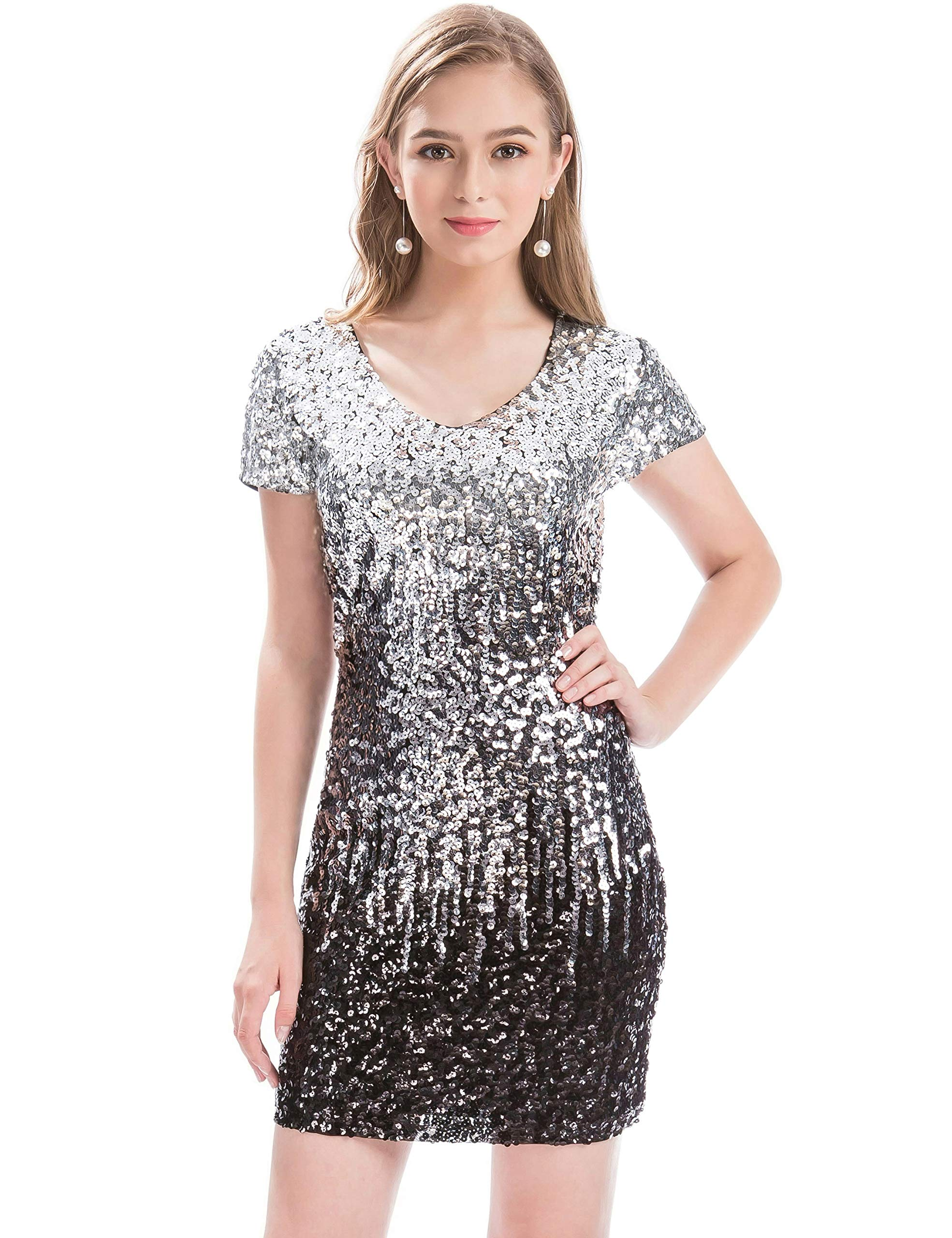 MANER Women's Sequin Glitter Short Sleeve Dress Sexy V Neck Mini Party Club Bodycon Gowns(XL, Silver/Gray/Black)