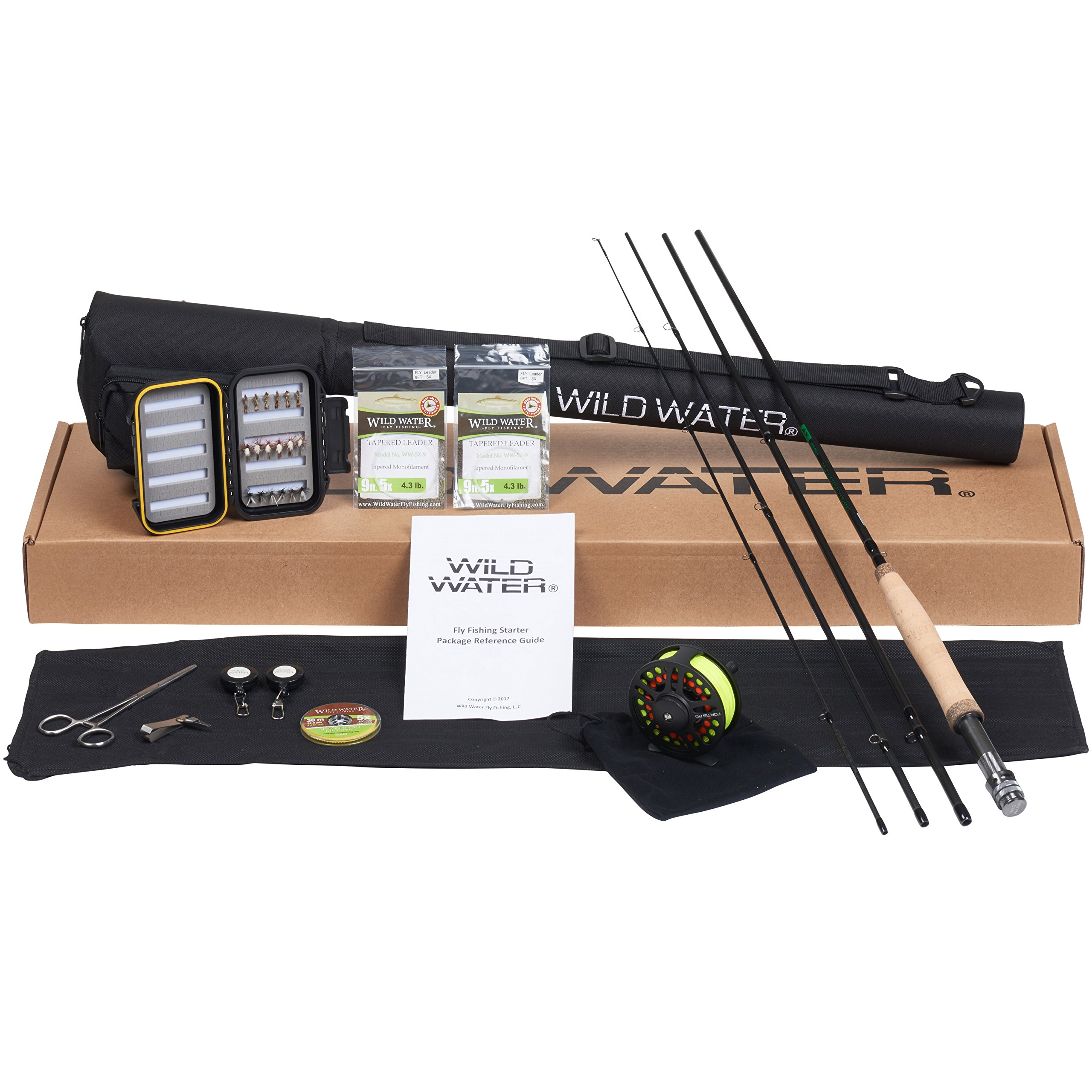 Wild Water Fly Fishing - CNC Machined Aluminum Fly Reel - 5/6 Complete Starter Package