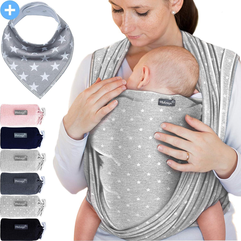 Makimaja - Portabebés gris claro con estrellas - portabebés de alta calidad para recién nacidos y bebés hasta 15 kg - hecho de algodón suave - incluye bolsa para guardar y babero