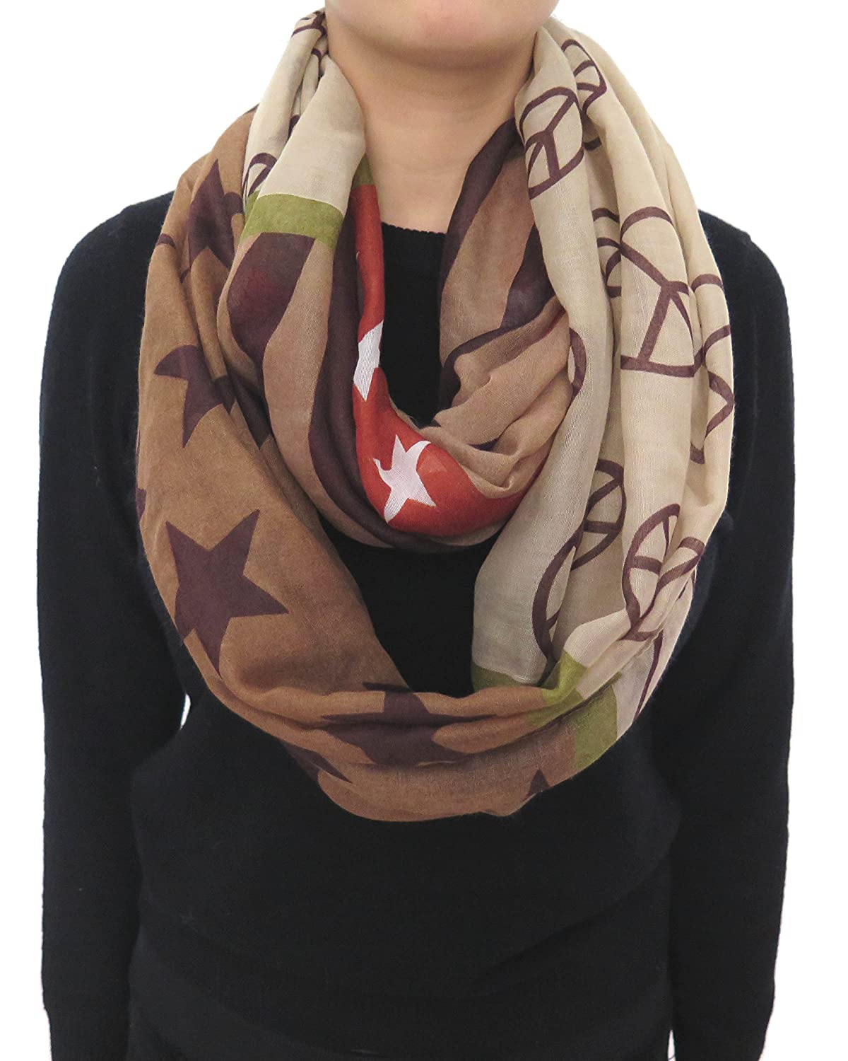 Lina & Lily Peace Sign Infinity Loop Scarf for Women Lightweight