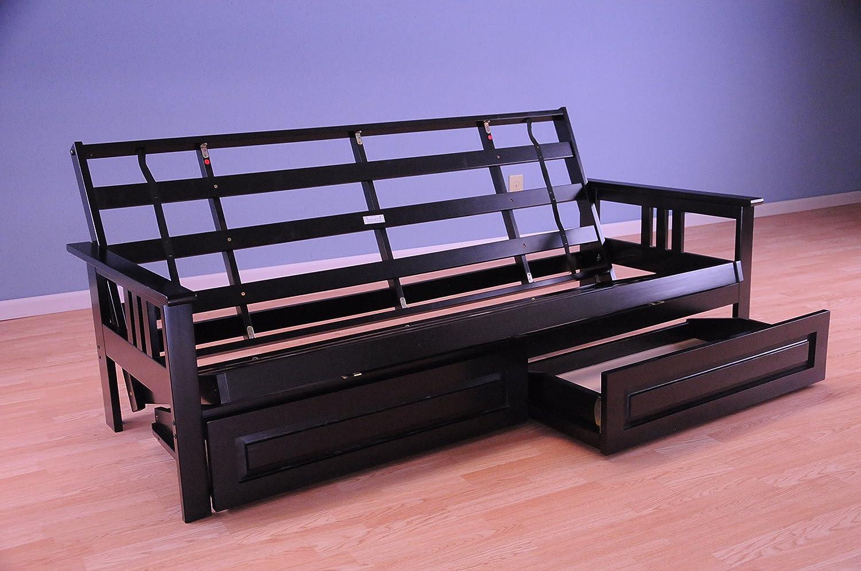 Monterey Futon Sofa in Black Finish Storage Drawers Minneapolis Furniture 760565