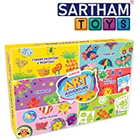 SARTHAM 6 in 1 DIY Art and Craft Kit for Kids - Finger Painting and Painting, Tissue Art, Stamp Art, Blow Painting, Artsy Plates and Stencil Art (Age 6+)