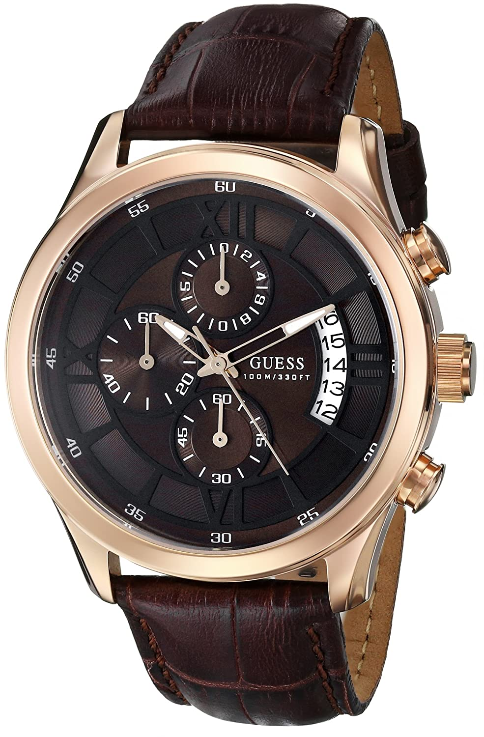 guess men s u14504g1 brown genuine leather chronograph watch guess men s u14504g1 brown genuine leather chronograph watch brown dial guess amazon co uk watches