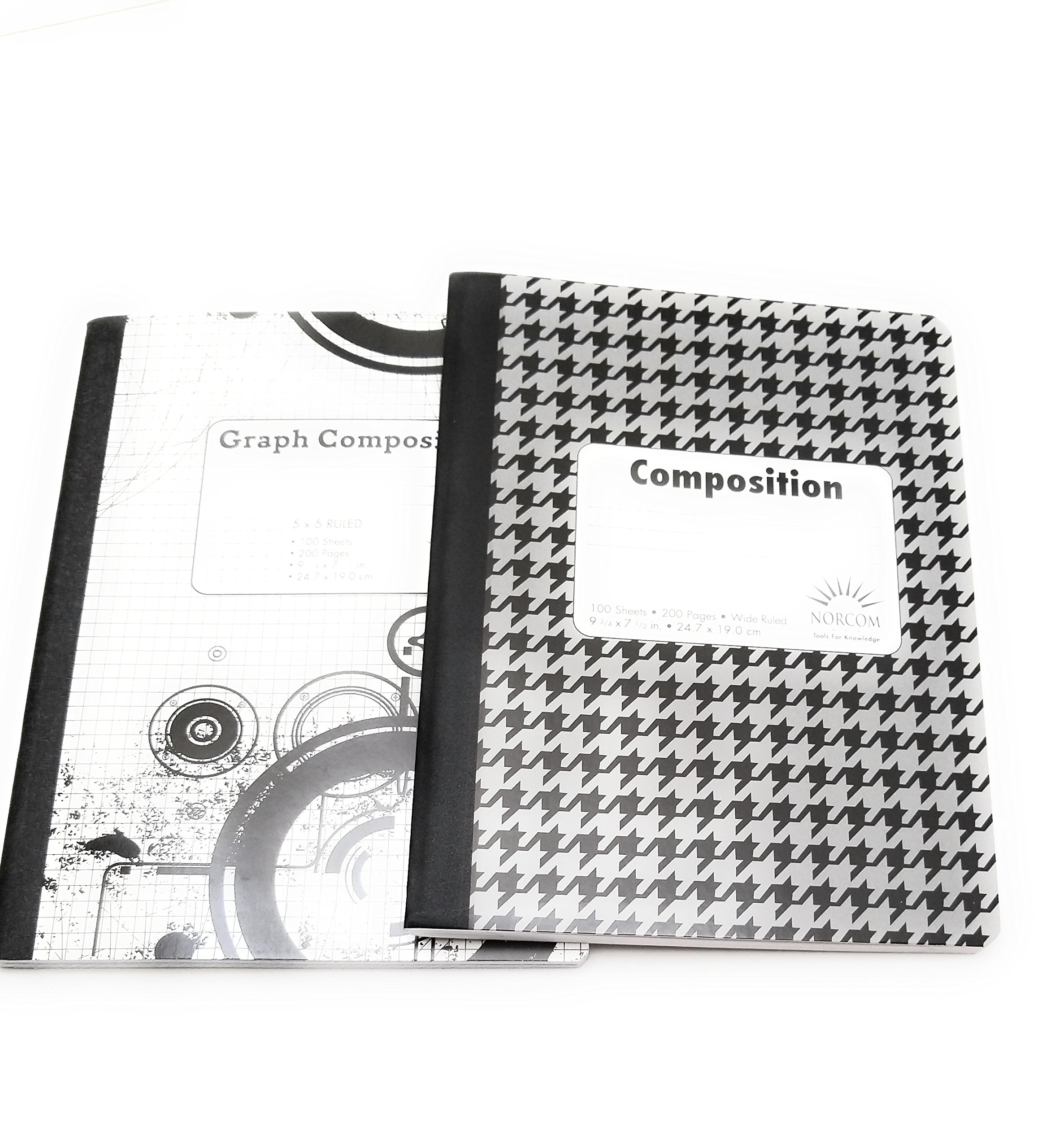 Gray And Black Squiggles Composition Notebook & 5 x 5 Graph Notebook - Pack of 2