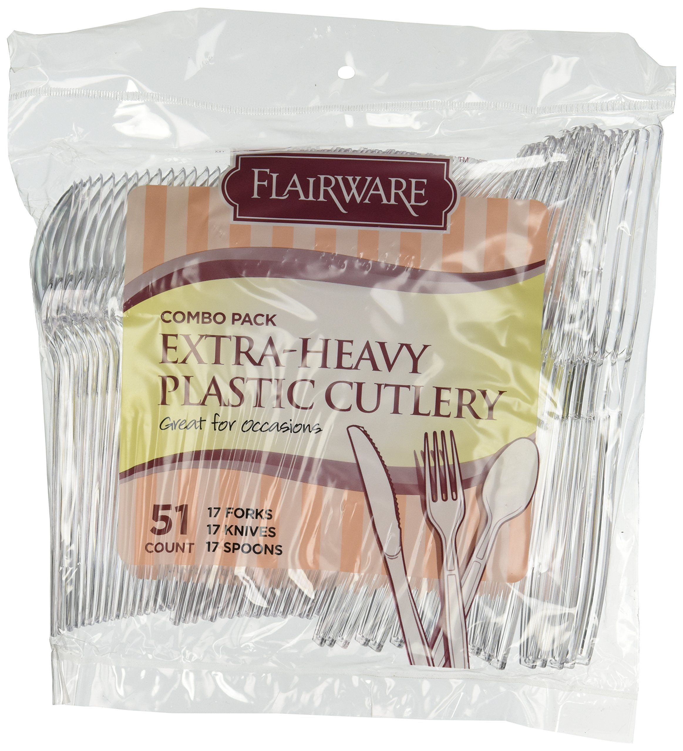 Fineline Settings Extra Heavy Cutlery Combo, Clear  1224 Pieces