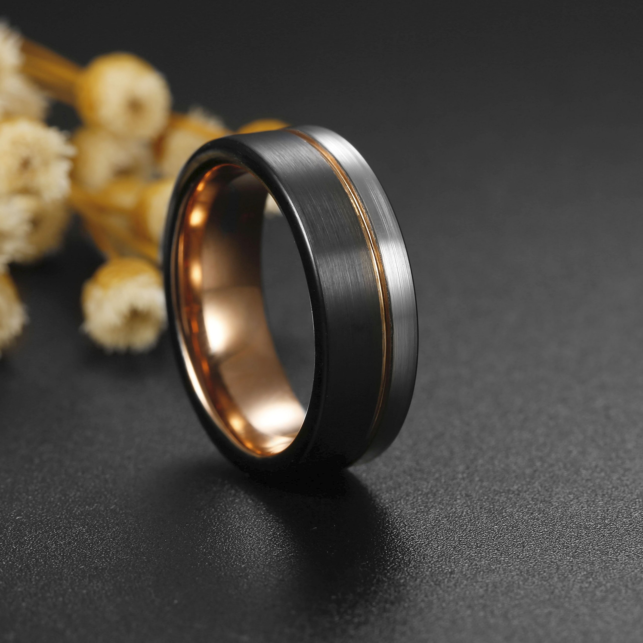 Tungary 8MM Tungsten Ring for Men Wedding Band Rose Gold Line Ring Black and Silver Brushed Size 12 by Tungary (Image #4)