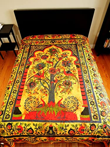 Yapree Handmade Cotton Tapestry with Tree of Life Design 80 X 92