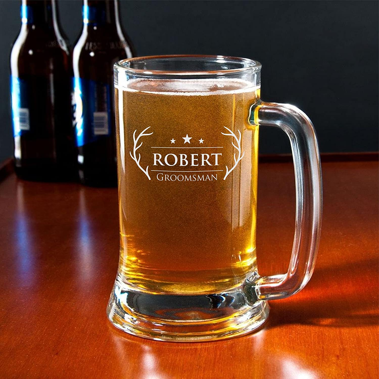 Personalized Beer Mug Antler Design Groomsman Mug Engraved Mug Sandblasted Glass Beer Mug