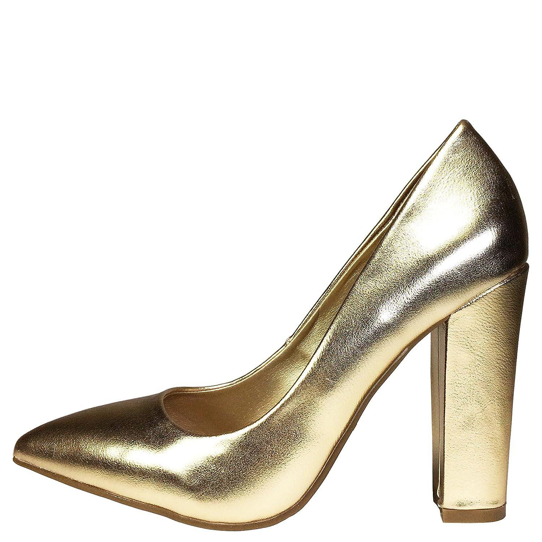 BAMBOO Womens Pointy-Toe Chunky Heel Pump