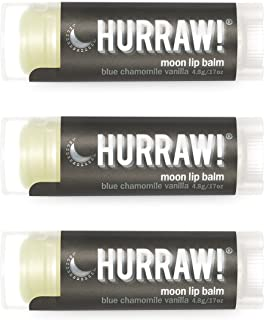 product image for Hurraw! Moon Night Treatment (Blue Chamomile, Vanilla) Lip Balm, 3 Pack: Organic, Certified Vegan, Cruelty and Gluten Free. Non-GMO, 100% Natural Ingredients. Bee, Shea, Soy and Palm Free. Made in USA