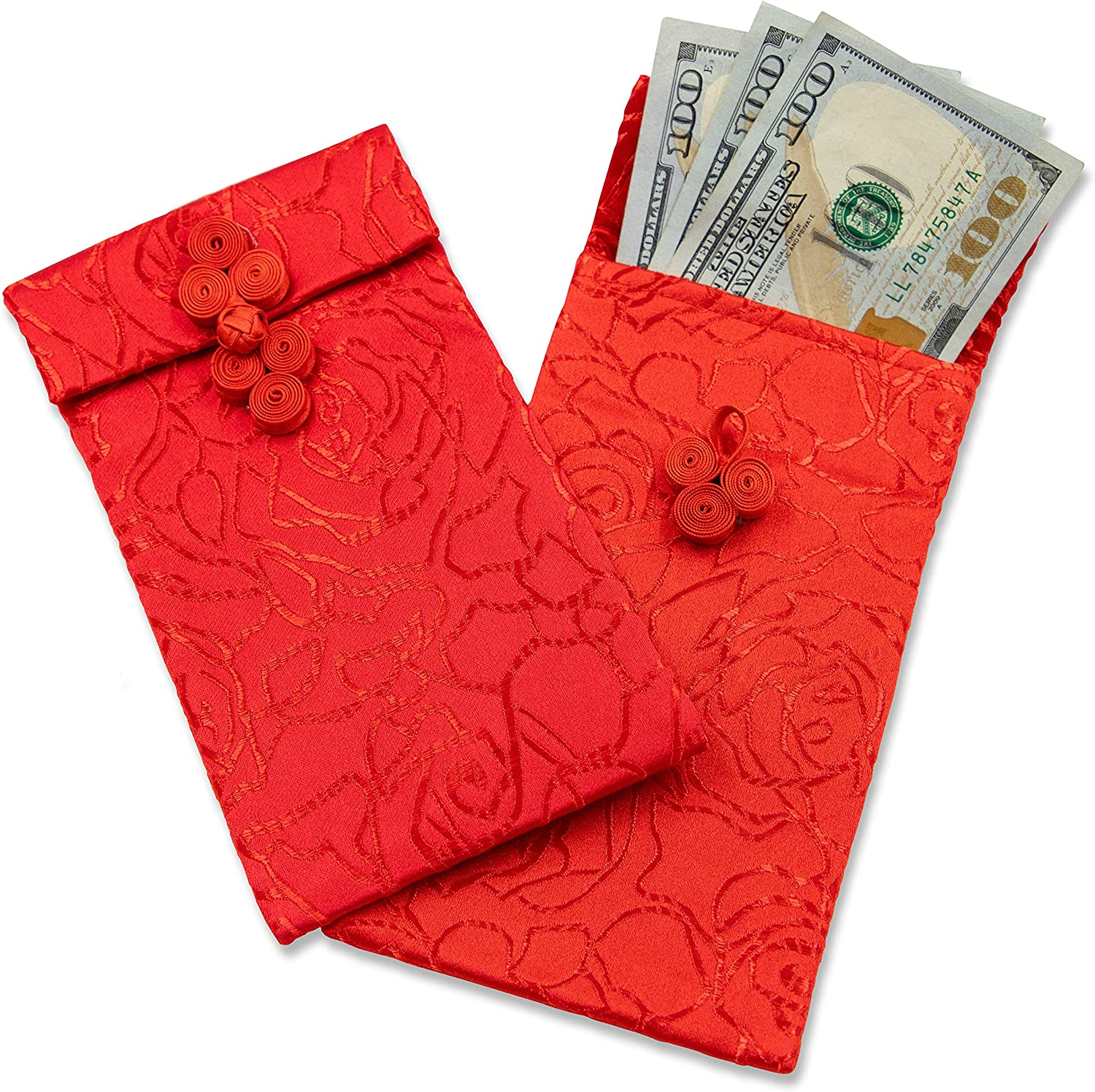 Amazon Com Chinese Silk Red Envelopes 6 Piece Lunar New Year
