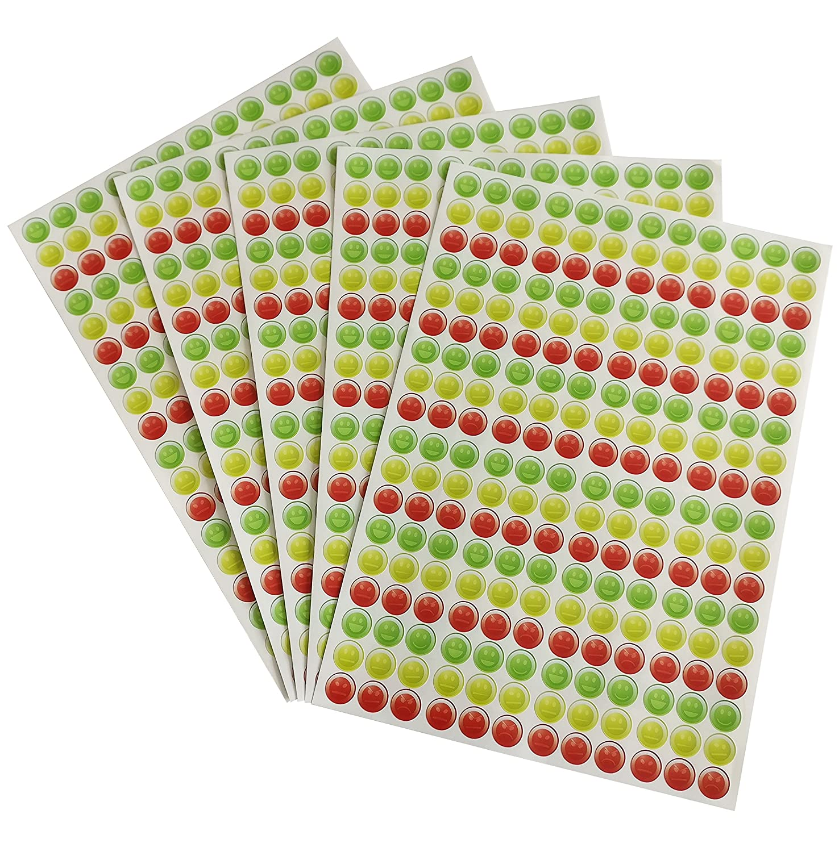16mm Happy Neutral Sad Faces Tri-Design Sticker Set! Teachers Reward Children Kids 5 Sheets - PVC-Free Vinyl Stickers