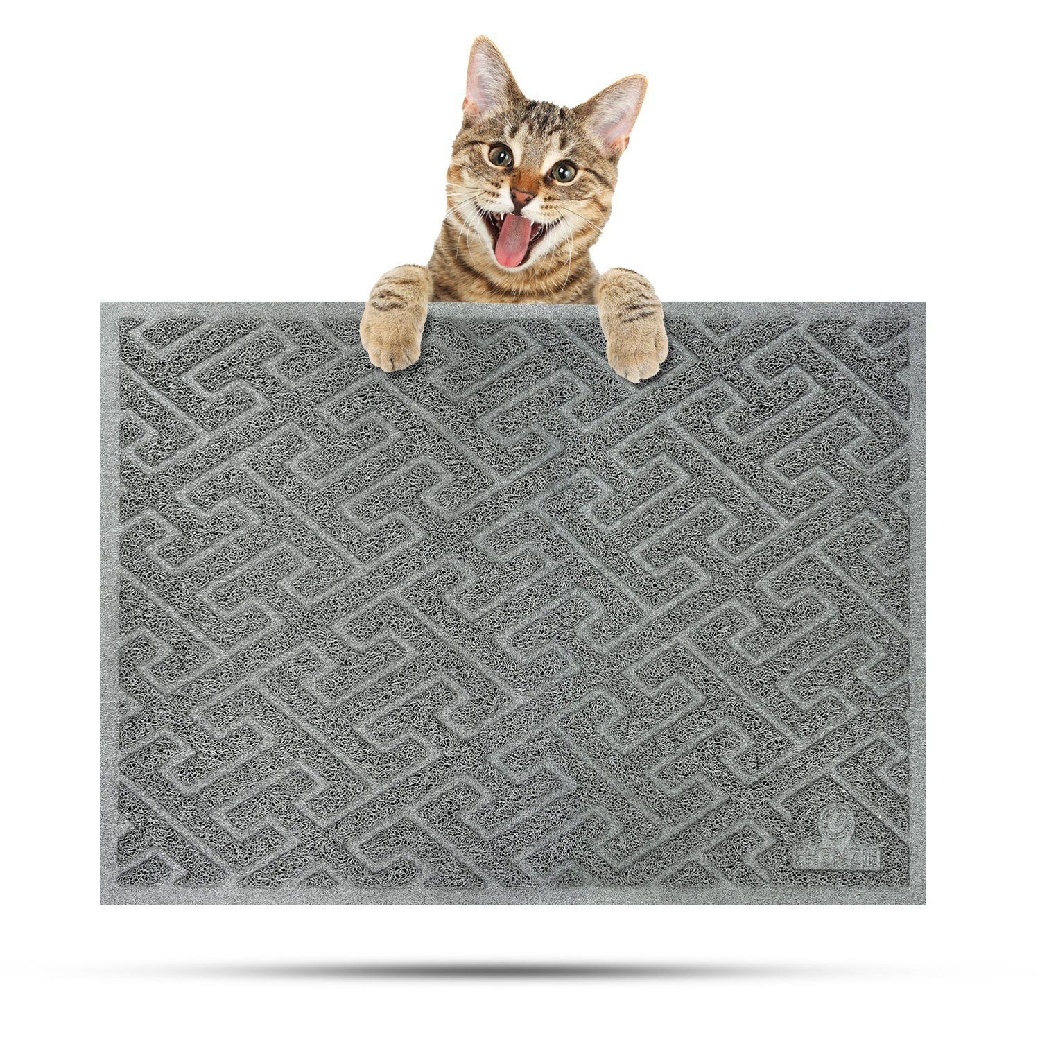 EHZNZIE Cat Litter Mat Non-Slip Traps Litter from Box and Paws,Scatter Control and Phthalate & BPA Free,Soft on Sensitive Paws and Easy to Clean-35'' x 23'' (Light Grey)