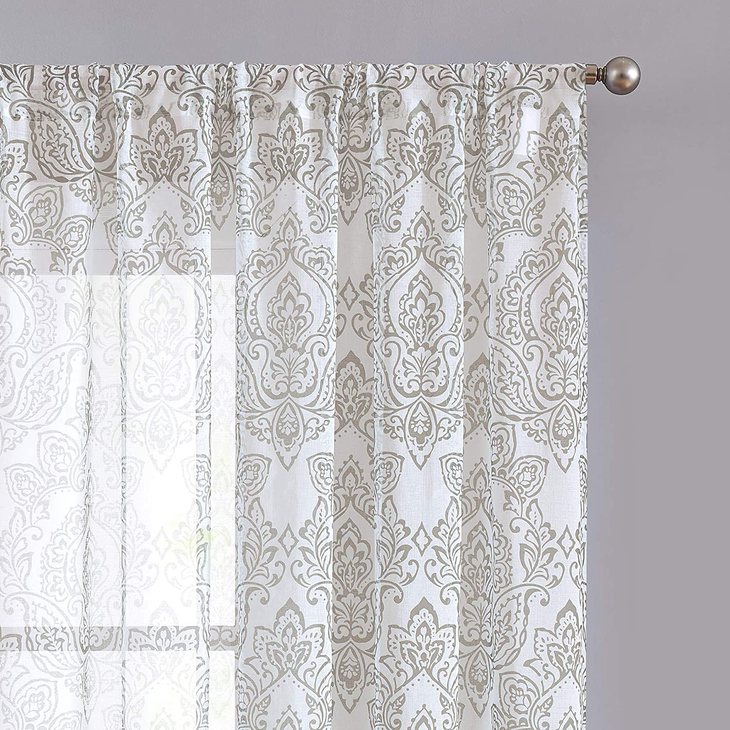 """Fmfunctex Damask Print Sheer Curtains for Living Room 95"""" Long Vintage Classic Floral Print on Sheer White Curtain Panels for Living Room Bedroom Window Draperies 1 Pair Natural"""