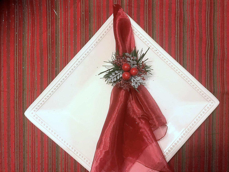 Handmade Christmas Napkin Rings Silver Branches and Red Berries Napkin Ring Holder For Christmas Dinner Table Decor Set of 4