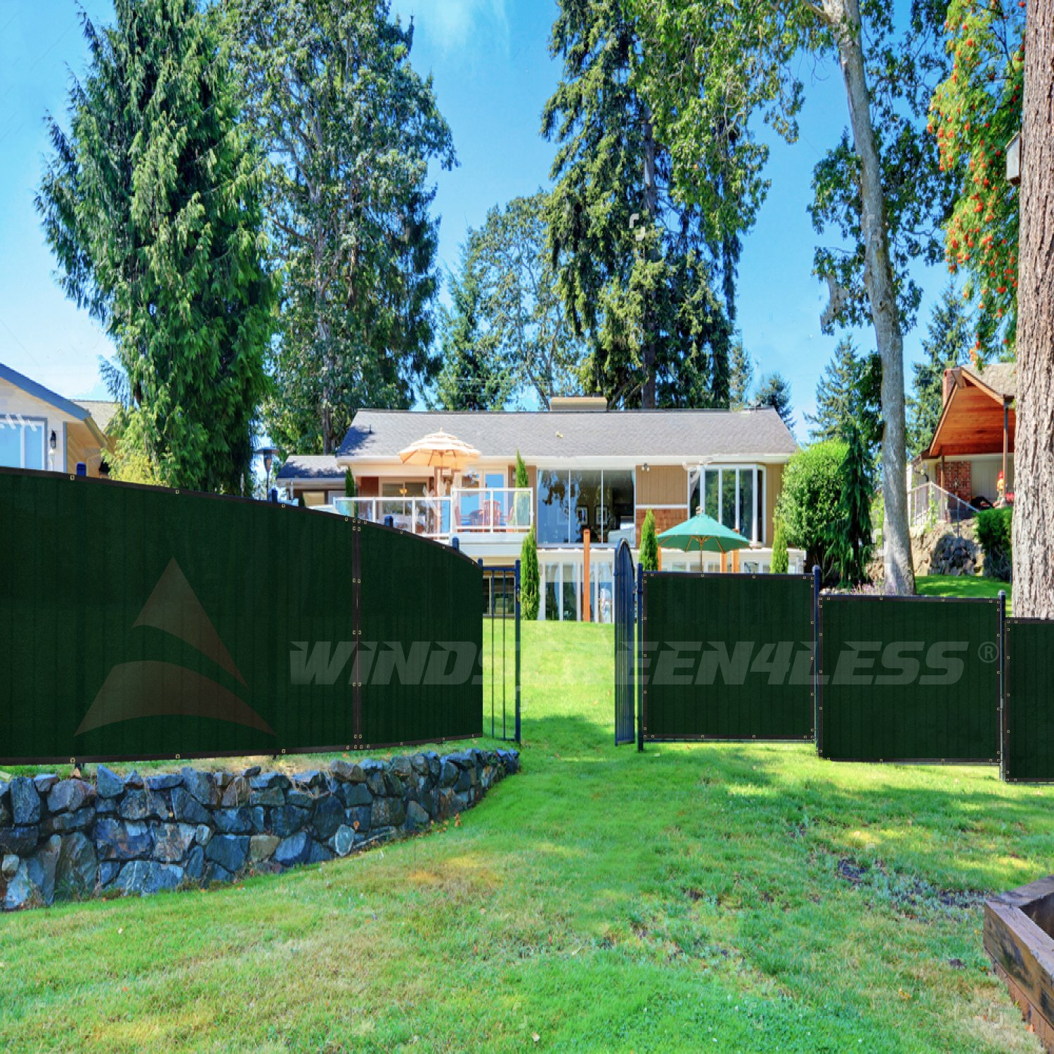 Windscreen4less Heavy Duty Privacy Screen Fence in Color Solid Green 4' x 50' Brass Grommets w/3-Year Warranty 150 GSM (Customized Sizes Available) by Windscreen4less (Image #8)