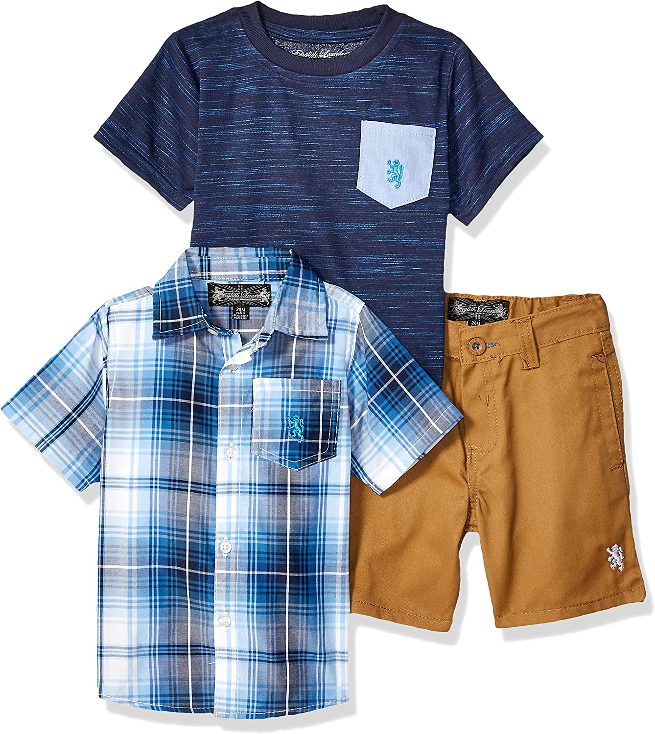 English Laundry Baby Boys Sleeve Plaid Woven, T-Shirt, and Short Set