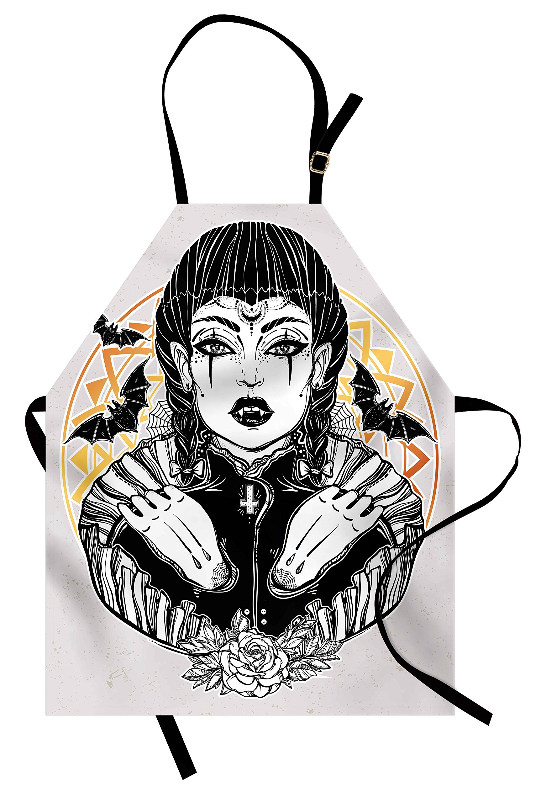 Lunarable Vampire Apron, Sketchy Lady with Ornate Circle Backdrop Witchcraft Magic Goth Occult Leader Theme, Unisex Kitchen Bib Apron with Adjustable Neck for Cooking Baking Gardening, Multicolor