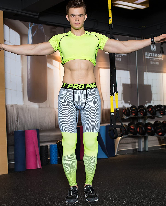 Pantaloni Fitness Urchoiceltd® QX Skinny Pantaloni da Running Da Uomo Pantaloni a Compressione Resistenti All'usura Gym Wear Ventilazione Quick-Dry Leggings Sportivi Comodi Wow QiangXing - QX