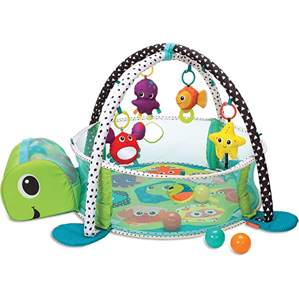 Baby Playmat Gym 3in1 Blue Turtle Activity Play Mat With Ball Pit /& Sensory Toys