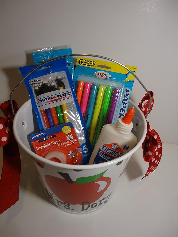 5 quart red apple design Personalized teacher gift bucket